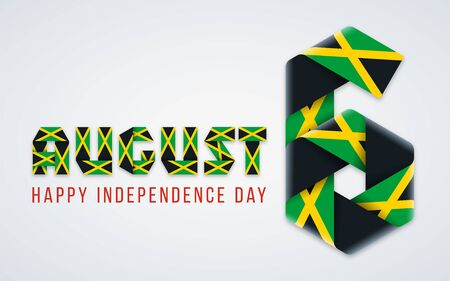 Congratulatory design for August 6, Jamaica Independence Day. Text made of bended ribbons with Jamaican flag colors. Vector illustration.