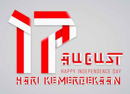 Congratulatory design for August 17, Indonesia National Day. Text made of bended ribbons with Indonesian flag colors. Translation of Indonesian inscription: Independence day. Vector illustration. Ilustração