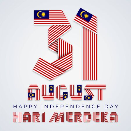 August 31, Malaysia Independence Day congratulatory design. Text made of bended ribbons with Malaysian flag elements. English translation of Malaysian title: Independence day. Vector illustration.