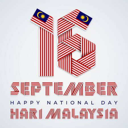 September 16, Malaysia National Day congratulatory design. Text made of bended ribbons with Malaysian flag elements. English translation of Malaysian title: Malaysia day. Vector illustration.