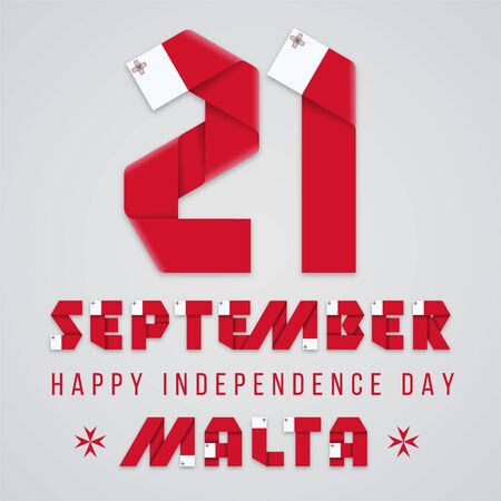 September 21, Malta Independence Day congratulatory design. Text made of bended ribbons with Maltese flag elements. Vector illustration. Ilustração