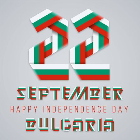 September 22, Bulgaria Independence Day congratulatory design. Text made of bended ribbons with Bulgarian flag colors. Vector illustration.