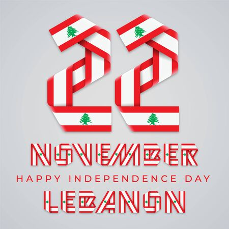 Congratulatory design for November 22, Independence Day of Lebanon. Text made of bended ribbons with Lebanese flag elements. Vector illustration. Illustration