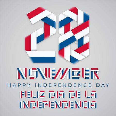 Congratulatory design for November 28, Panama Independence Day. Text made of bended ribbons with Panamanian flag colors. Translation of Spanish inscription: Happy Independence day. Vector illustration.