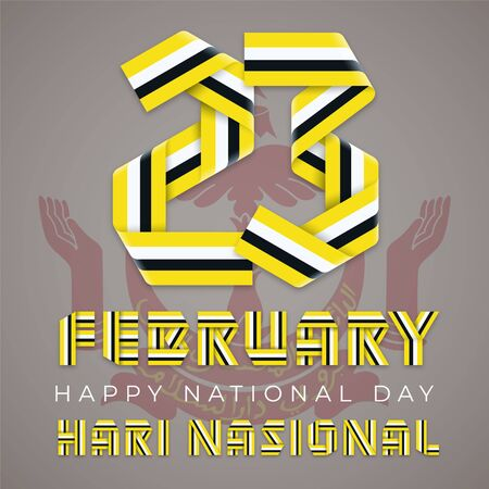 February 23, Brunei National Day congratulatory design. Text made of bended ribbons with Brunei flag colors. English translation of Malay title: National day. Vector illustration.