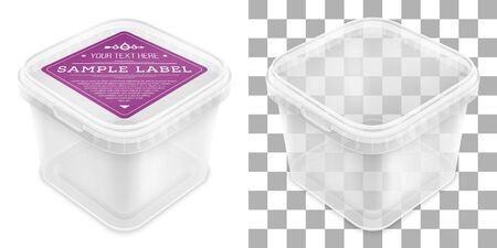 Vector transparent square empty plastic bucket with label for storage of foodstuff or paint. Top view from the corner. Packaging mockup illustration.