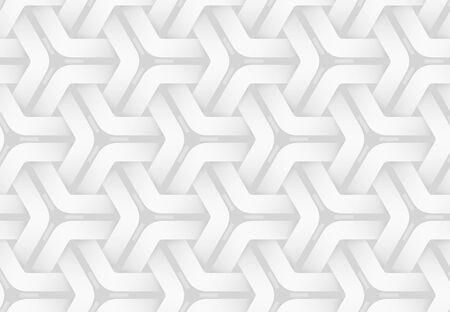 Motif décoratif sans soudure de vecteur de bandes hexagonales tissées. Illustration de fond géométrique répétitif blanc. Vecteurs