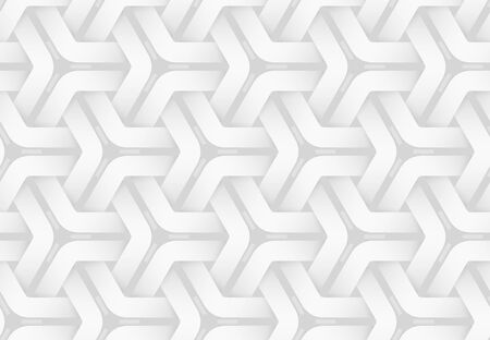 Vector seamless decorative pattern of weaved hexagonal bands. White repeating geometric background illustration. Ilustracja