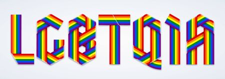 Initialism LGBTQIA of lesbian, gay, bisexual, transgender, queer, intersex, and asexual. Text made of bended ribbons with rainbow Pride flag colors. Vector illustration.