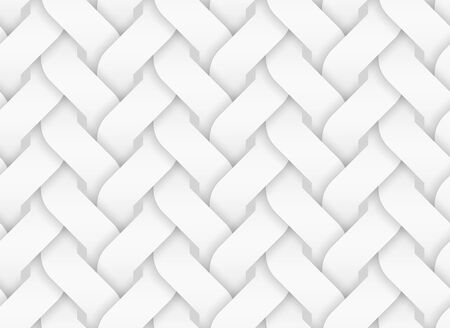 Vector seamless decorative pattern of entwined curve bands. White repeating geometric background illustration.