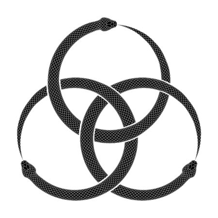 Three intertwined snakes biting their own tails. Ouroboros symbol tattoo design. Vector illustration  of ancient sign isolated on a white background.