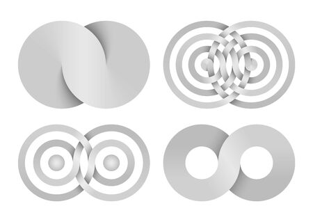 Set of Infinity signs made of combined disks and rings. Stylized symbols of interference concentric waves. Vector illustration isolated on white background.