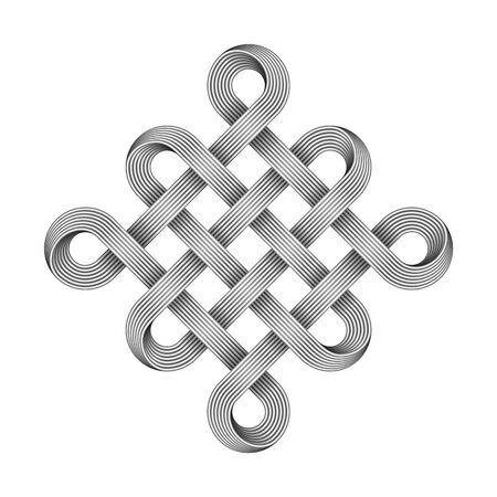 Chinese endless auspicious knot made of crossed metal wires.  Ancient traditional Buddhist symbol. Vector illustration isolated on white background. Ilustração