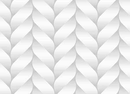 Seamless decorative pattern of white braided paper bands twisted in the form of a pigtail. Vector decorative illustration. Ilustrace