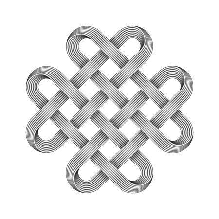 Quadruple Solomon knot made of crossed metal wires. Ancient traditional decorative symbol. Vector illustration isolated on white background.