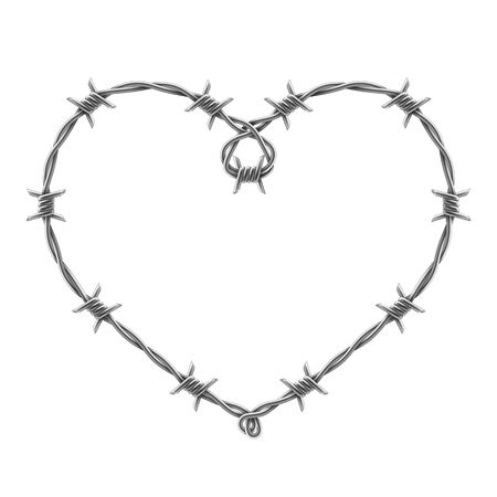 Heart symbol made of spiraling barbed wires. Symbol of domestic violence. Vector realistic illustration isolated on white background.