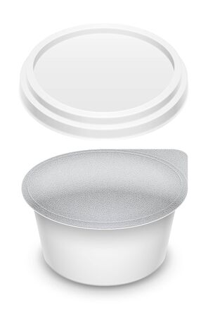 Round plastic container sealed with foil for butter, melted cheese or cosmetics cream. Mockup isolated over a white background. Packaging template 3d illustration. Banco de Imagens