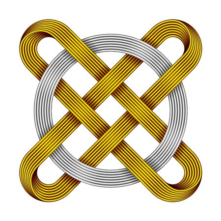 Ringed cross made of intertwined golden and silver wires. Celtic knot with circle symbol. 3d illustration isolated on white background.
