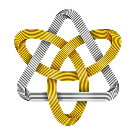 Knot Triquetra with triangle made of intersected golden and silver wires. Celtic trinity symbol. Realistic 3d illustration isolated on white background.