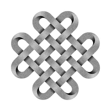 Quadruple Solomon knot made of crossed stippled tapes. Ancient traditional decorative symbol. Vector illustration isolated on white background.