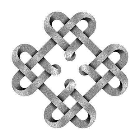 Symbol of four hearts made with stippled tapes intertwined as celtic knot. Vector illustration isolated on white background.