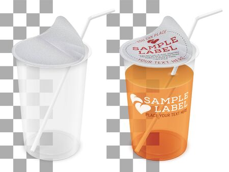 Vector labeled filled and empty transparent plastic cup with opened foil cap and straw for cold or hot drink. Packaging mockup illustration.