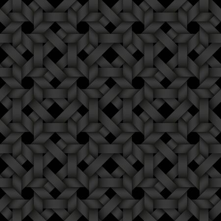 Black seamless decorative pattern of matting stripes. Vector dark texture repeating geometric background illustration.