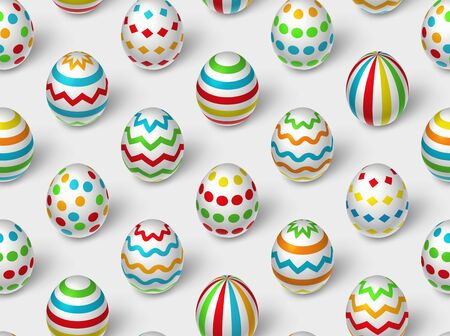 Seamless pattern of realistic white eggs with various geometric ornament. Vector Easter repeating background illustration.