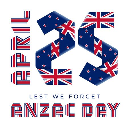 Congratulatory design for April 25, Anzac Day national holiday. Text made of bended ribbons with flag of New Zealand elements. 3d illustration isolated on white background.. Фото со стока