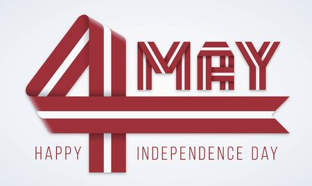 Congratulatory design for May 4, Latvia Independence Day. Text made of bended ribbons with Latvian flag colors. Vector illustration. Иллюстрация