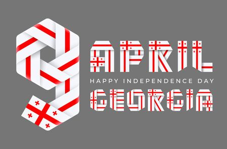 Congratulatory design for April 9, Independence Day of Georgia. Text made of bended ribbons with Georgian flag elements. 3d illustration isolated on gray background.
