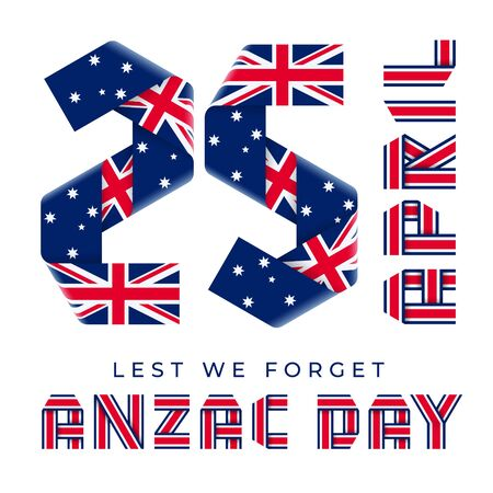 Congratulatory design for April 25, Anzac Day national holiday. Text made of bended ribbons with flag of Australia elements. 3d illustration isolated on white background.. Фото со стока