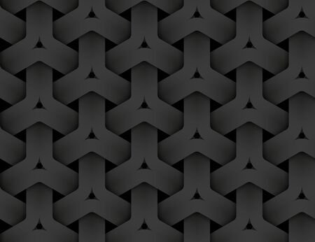 Black seamless decorative pattern of braided hexagonal stripes. Vector dark texture repeating geometric background illustration.