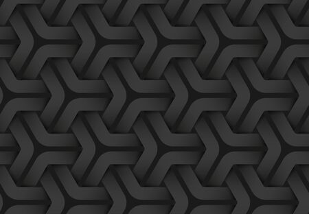 Black seamless decorative pattern of weaved hexagonal stripes. Vector dark texture repeating geometric background illustration. Иллюстрация