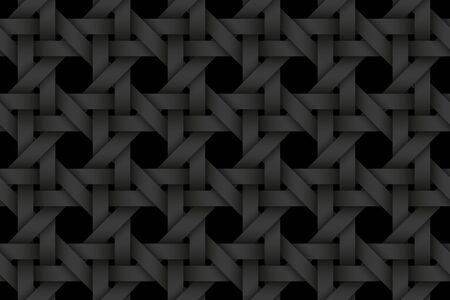 Black seamless decorative pattern of woven stripes. Vector dark texture repeating geometric background illustration.