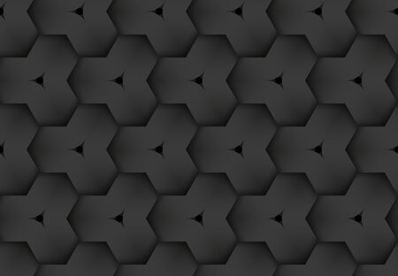 Black seamless decorative pattern of woven hexagonal stripes. Vector dark texture repeating geometric background illustration.