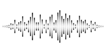 Graphic display of sound waves stylized with stippled nascent lines. Dynamic equalizer visual effect. Vector illustration isolated on white background.