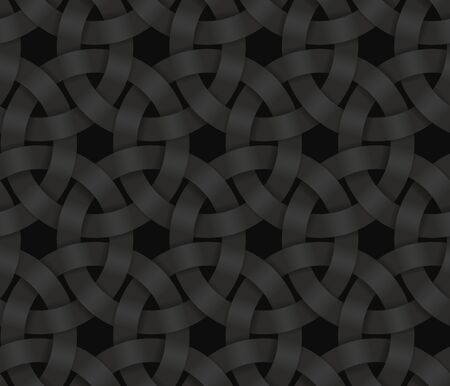 Black seamless decorative pattern of braided circle stripes. Vector dark texture repeating geometric background illustration.