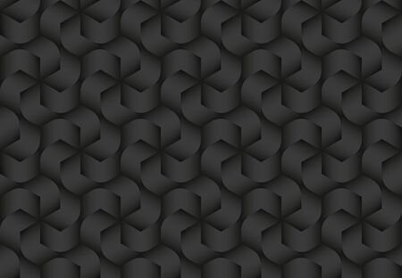 Black seamless decorative pattern of twisted hexagonal stripes. Vector dark texture repeating geometric background illustration.