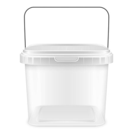 Transparent square empty plastic bucket with metallic handle for storage of foodstuff, butter, paint or plaster. Front view. Packaging mockup 3d illustration.