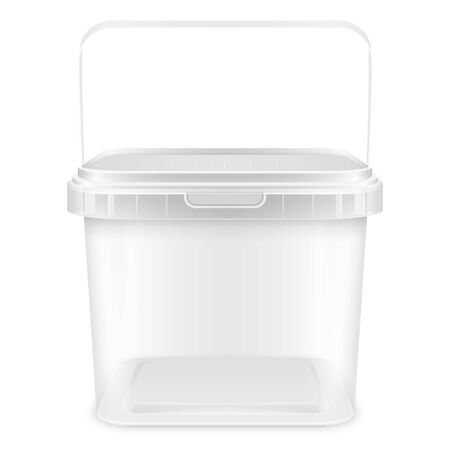 Transparent square empty plastic pail with handle for storage of foodstuff, butter, paint or plaster. Front view. 3d packaging template illustration isolated on white background.