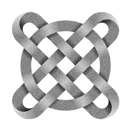 Stippled ringed cross. Celtic knot with circle symbol made of intersected strips. . Textured 3d illustration isolated on white background. Фото со стока