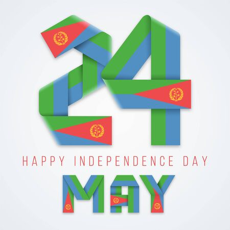 Congratulatory design for May 24, Independence Day of Eritrea. Text made of bended ribbons with Eritrean flag elements. Vector illustration.