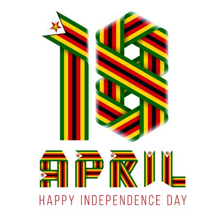 Congratulatory design for April 18, Independence Day of Zimbabwe. Text made of bended ribbons with Zimbabwean flag elements. 3d illustration isolated on white background..