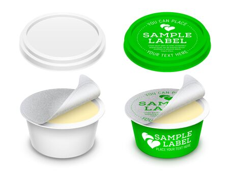 Vector labeled round plastic container with opened foil seal and lid for butter, melted cheese or cosmetics within.. Mockup isolated on white background. Packaging template illustration.