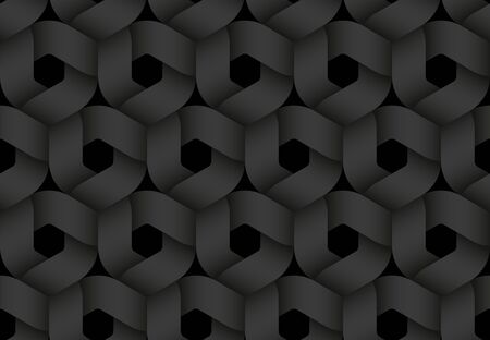 Black seamless decorative pattern of hexagonal intertwined stripes. Vector dark texture repeating geometric background illustration. Иллюстрация