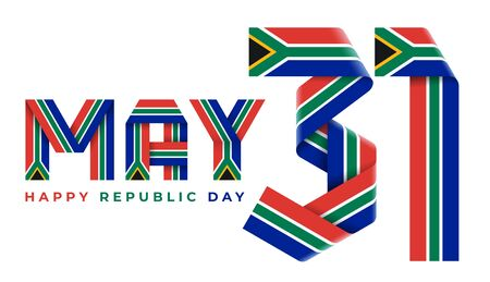 Congratulatory design for May 31, Republic Day of South Africa. Text made of bended ribbons with RSA flag colors. 3d illustration isolated on white background.