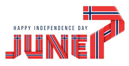 Ð¡ongratulatory design for June 7, Independence Day of Norway. Text made of bended ribbons with Norwegian flag colors.
