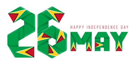 Congratulatory design for May 26, Independence Day of Guyana. Text made of bended ribbons with Guyanese flag elements. 3d illustration isolated on white background.. Фото со стока