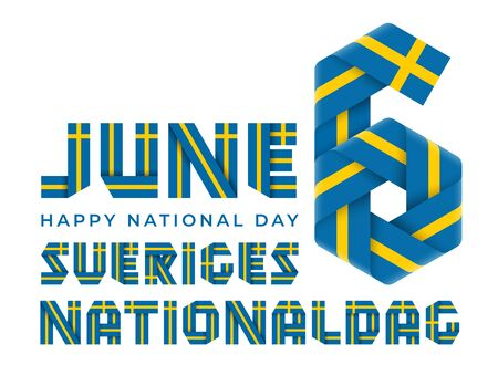 Congratulatory design for June 6, National Day of Sweden. Text made of folded ribbons with Swedish flag colors. Swedish inscription: Sweden's National Day. 3d illustration isolated on white background.